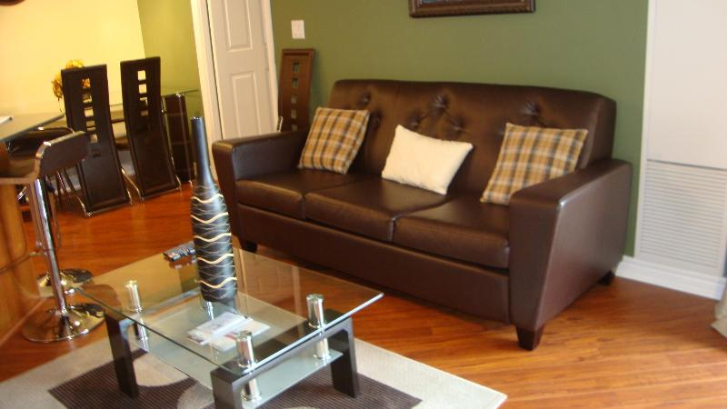 Living room with full-sized sofabed