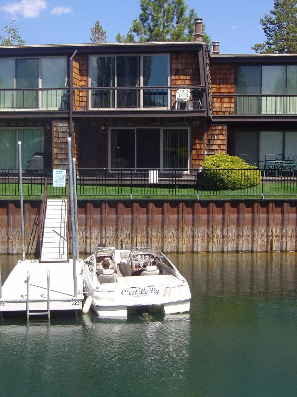 Our boat dock, from which you can fish, is only steps from our lovely condo