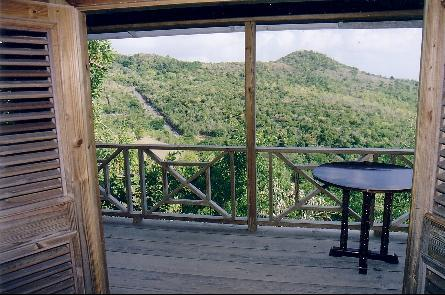 Balcony and view of the green hills