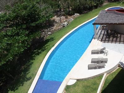 View of pool area from roof deck