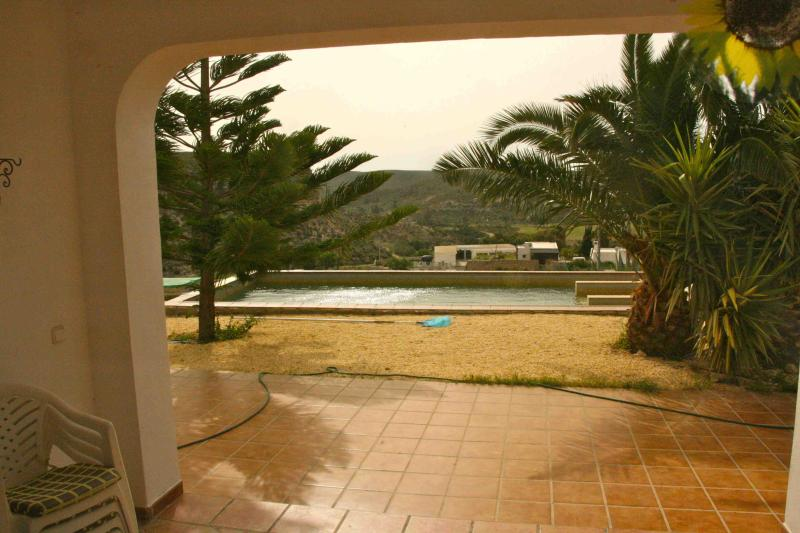 View from the terrace to the swimming pool