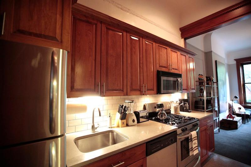 Undercounter lights in kitchen.