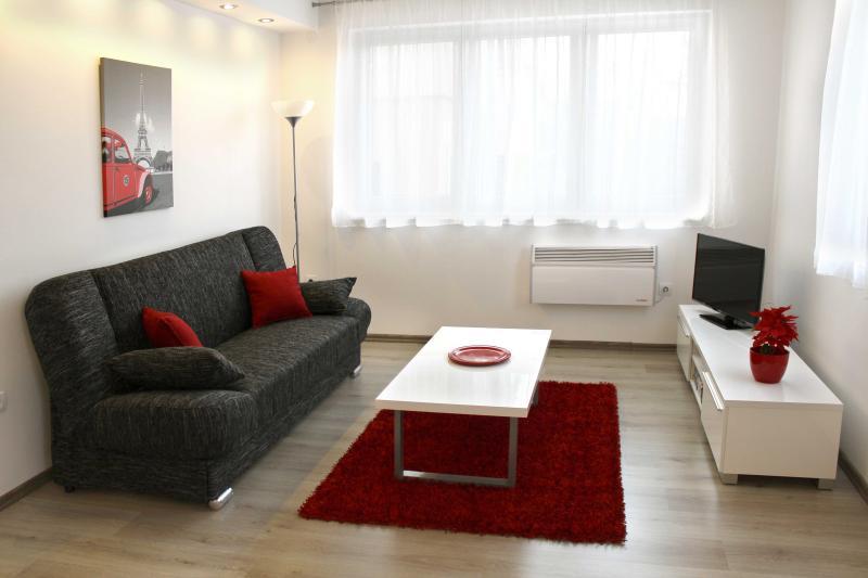 Sala de estar aconchegante para relaxar e ver televisão; sofá também dobra-se para fora para dormir