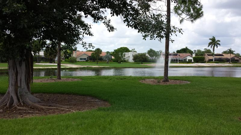 view from the pool of lake and fairway