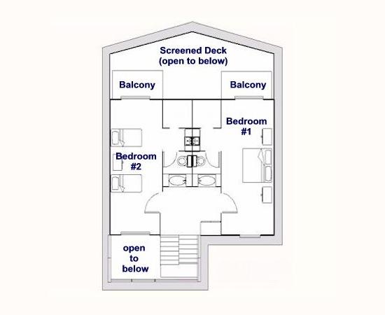 The basic plan of the second storey.