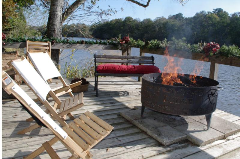 Relax by the river's edge and enjoy one of three fire pits
