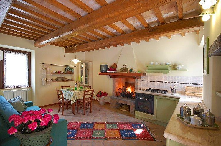 Gut ausgestattete Küche/Wohnzimmer mit bequemen Sofa-Bett für zwei Personen