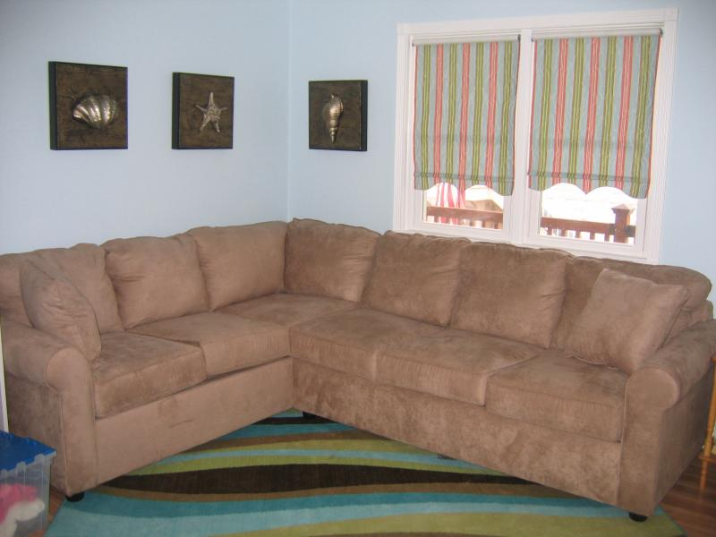 Family Room area with pull out full sized sofa