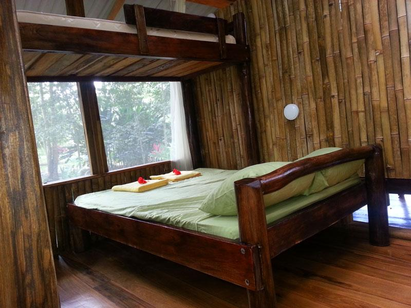 Bedroom two with double bed and single bunk bed, leads to shower and toilet, jungle view.