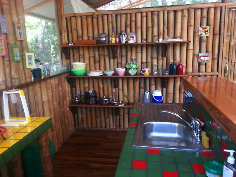 Fully equipped kitchen with 3 ring stove top, outside gas BBQ, cooler for ice and perishables.