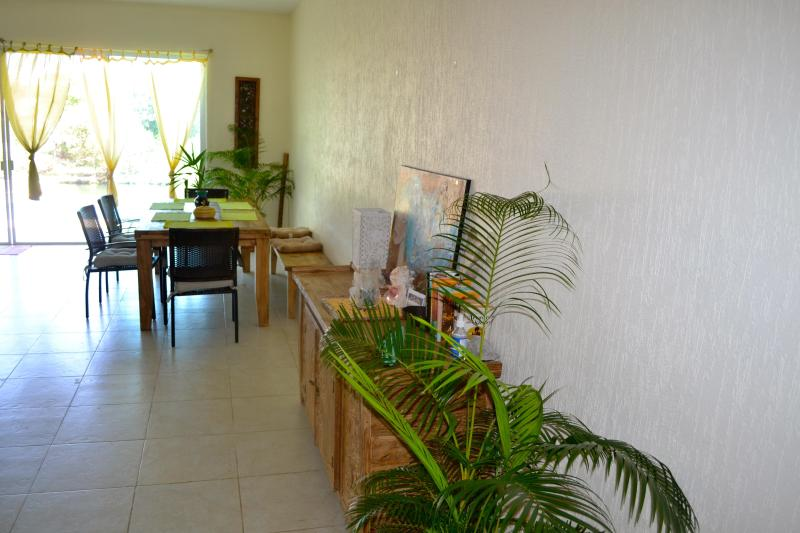 Our dining area with handmade table and buffet.