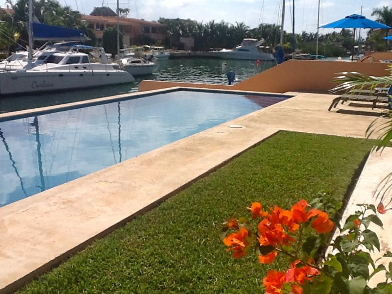 Beautiful marina view from our pool front patio and living room!