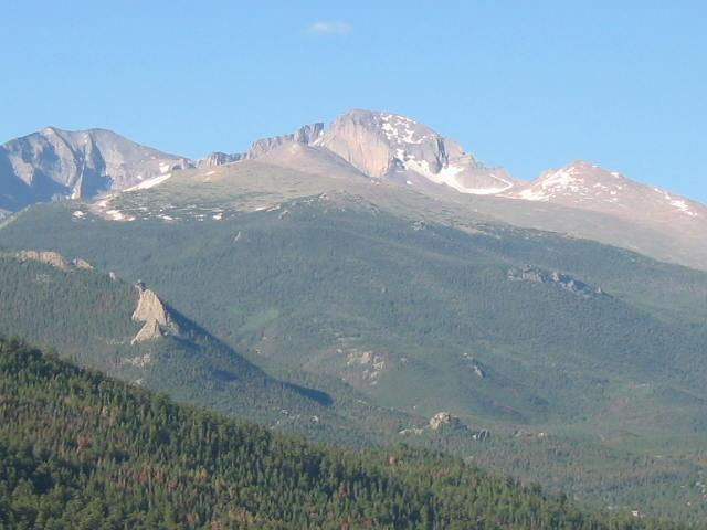 View from our Deck !! Longs Peak Mountain !!