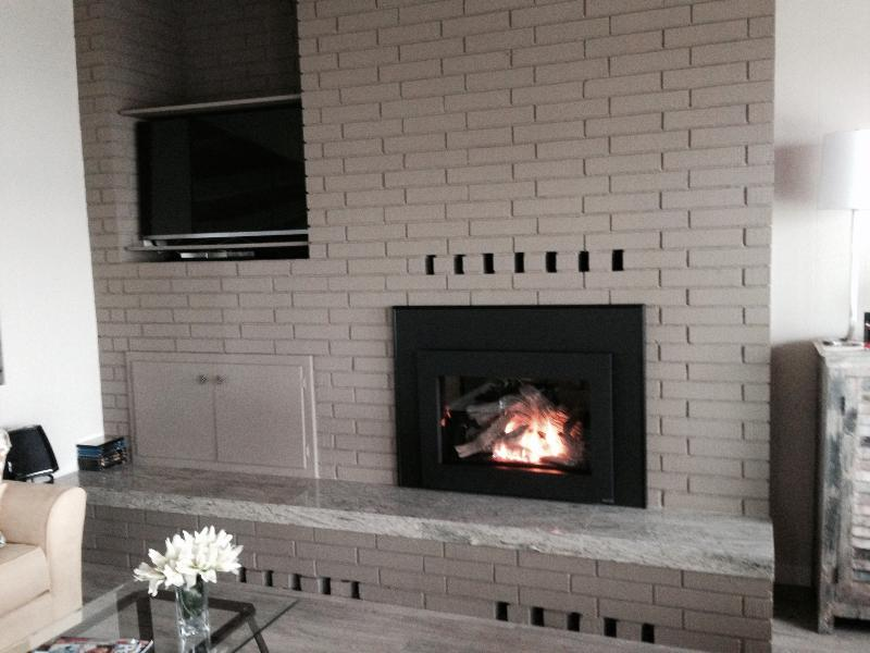 Enjoy the warmth of the gas fireplace when it is cold and stormy outside.