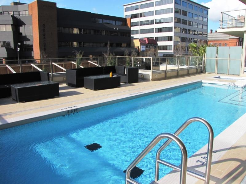 Shared swimming pool and hot tub