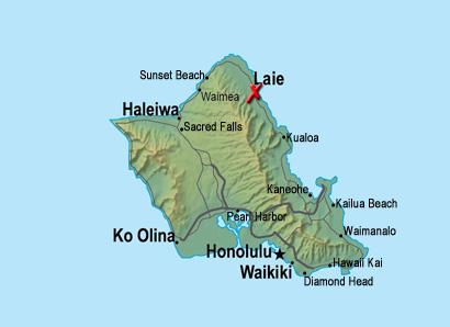 Laie is on the North Shore of Oahu
