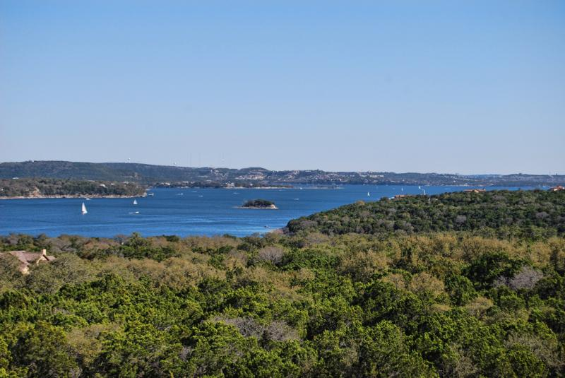 View of Lake Travis from balcony. The lake is full!