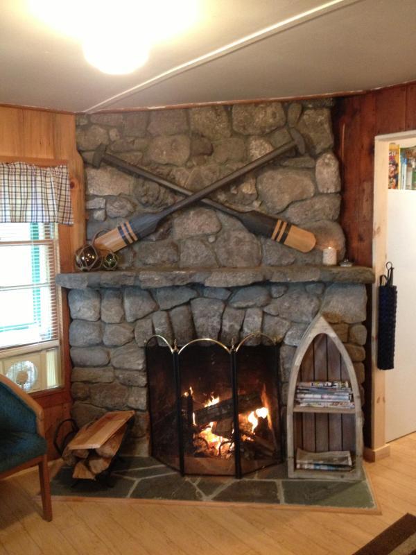 Field-stone fireplace