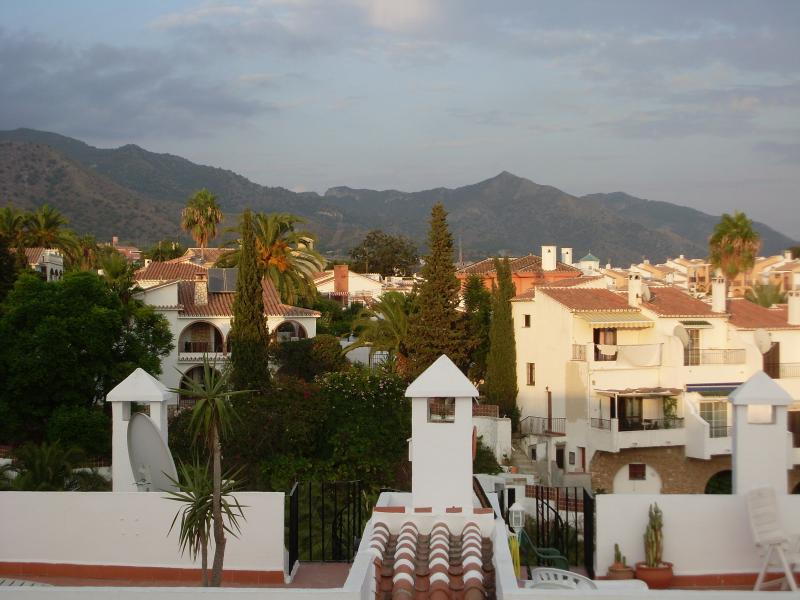 View of mountains from roof terrace