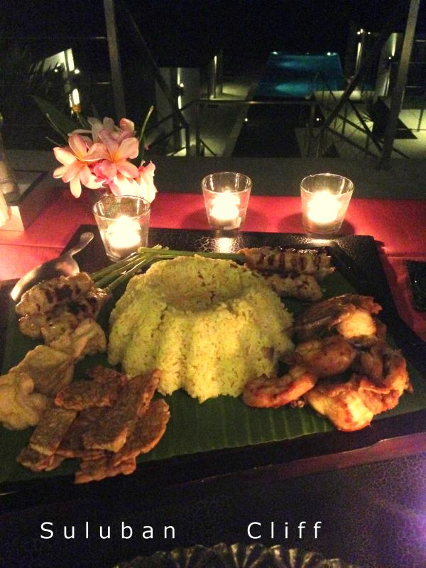 Suluban Cliff dining experience with Indonesian specialities