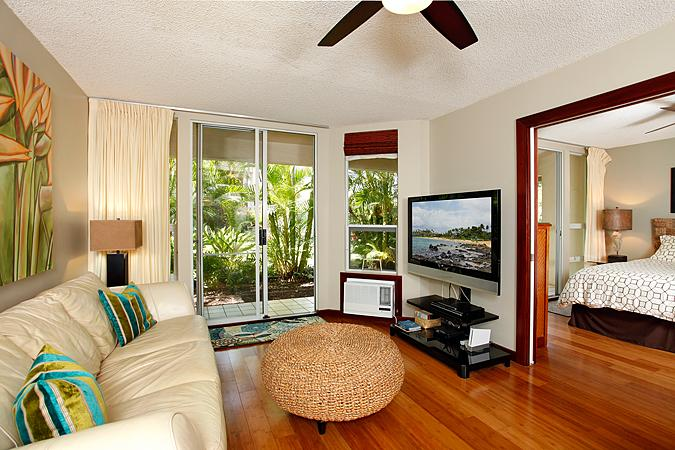 Unit A101 with bamboo floors and stylish decor