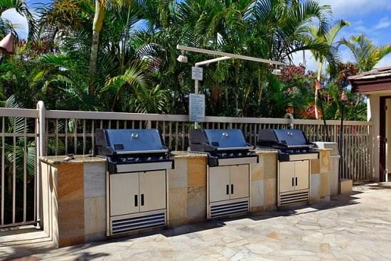 Gas BBQs at lower pool area close to units