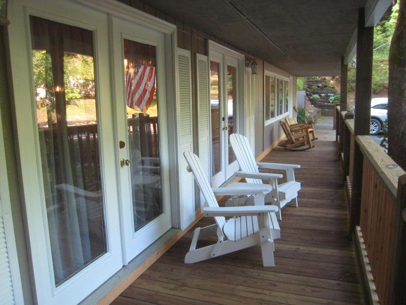 Come sit on our front porch, sip your morning coffee, listen to the fish, relax and stay awhile!