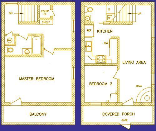 Plan d'étage - 950 pieds carrés - deux casita étages avec deux chambres à coucher et 1/2 salle de bain