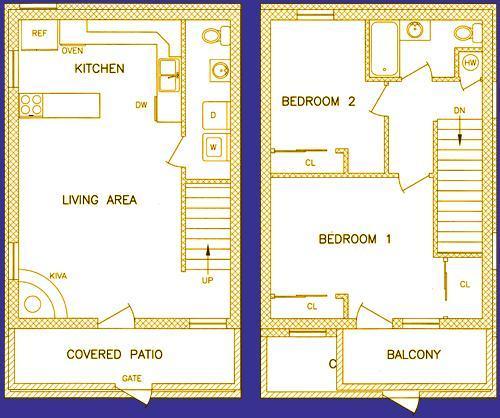 Grundriss - 950 Quadratfuß