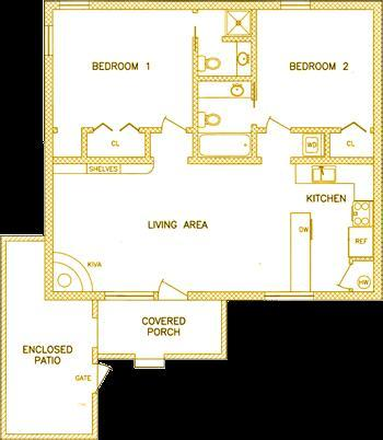 Plan de piso - 950 pies cuadrados