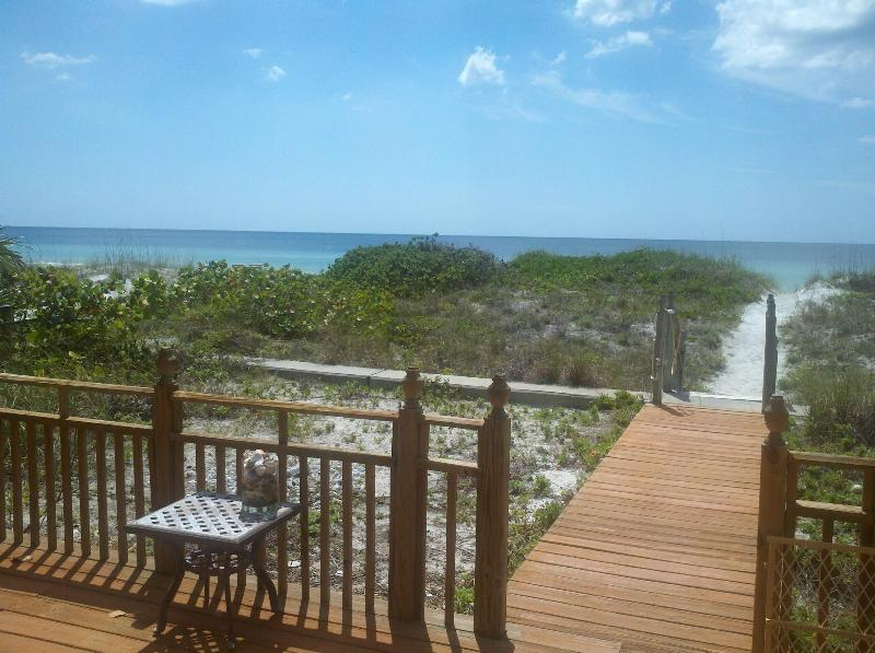 From Deck looking left at the Gulf just over the dune ahead.  Watch out for turtle nests!