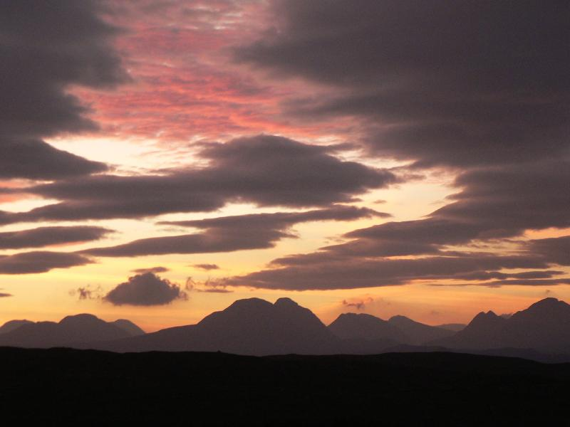 View towards Torridon mountains from house