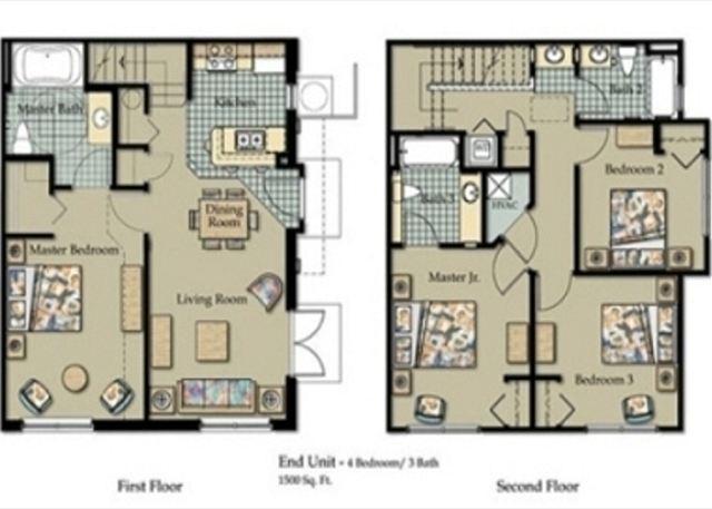 The Villas at Seven Dwarfs - Plano de planta de 4 habitaciones