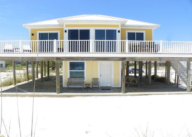 The gulf side of the home has a spacious deck with amazing views.