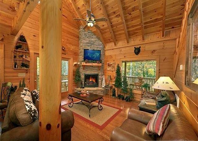 Queen sized sleeper sofa/Stone stacked gas fireplace/Large HDTV/DVD
