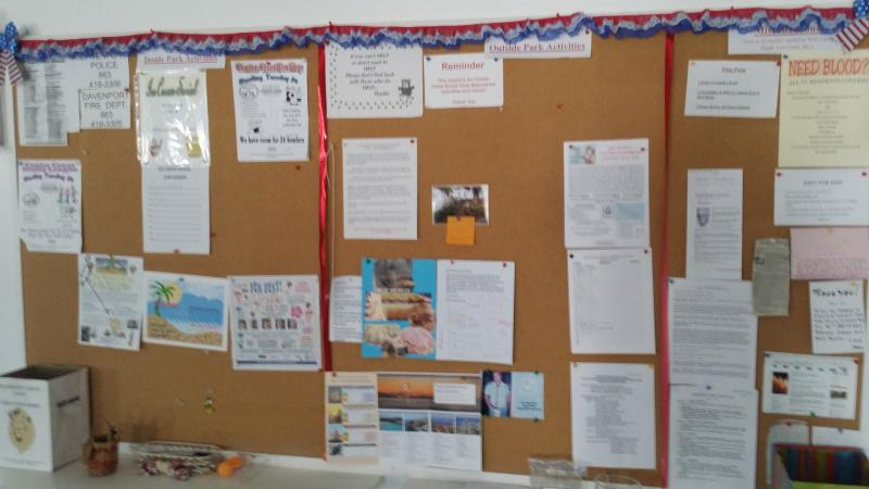 Activity Board in the Club House, lots of activities