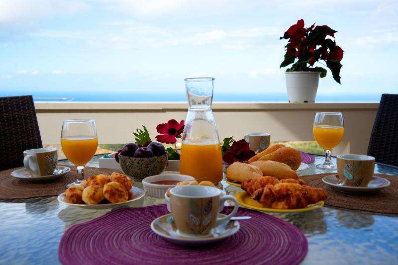 Breakfast on the first floor's balcony