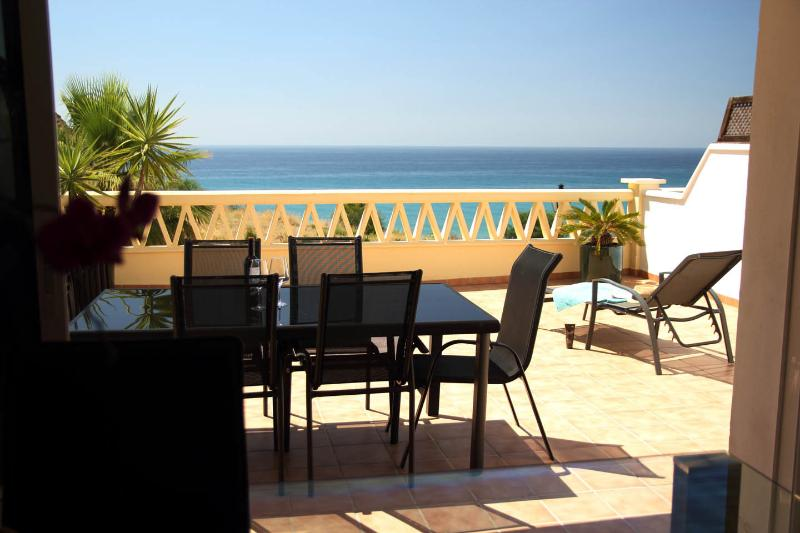 Terrace with seating for 6, sunloungers, new sunblind and gas BBQ/Grill