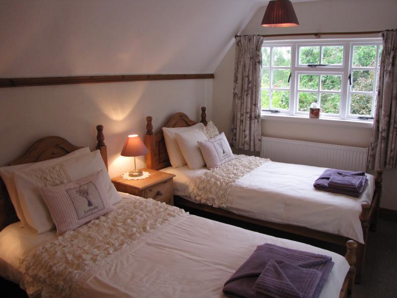Lavender twin room upstairs with - en suit shower room & loo