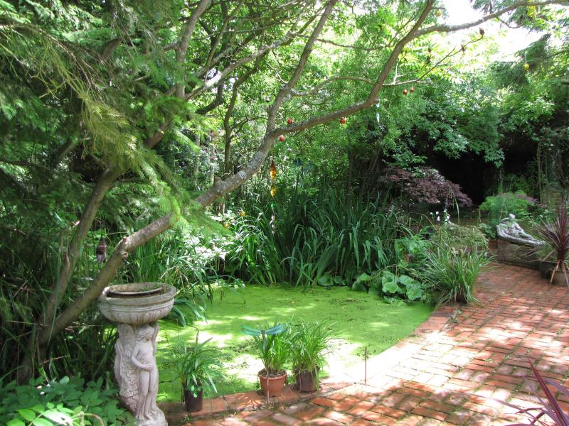 Área de pátio pavimentado de tijolo e lago ornamental