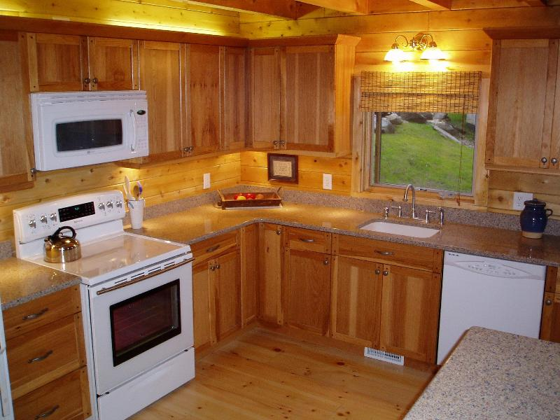 Silestone counter and hickory cabinets