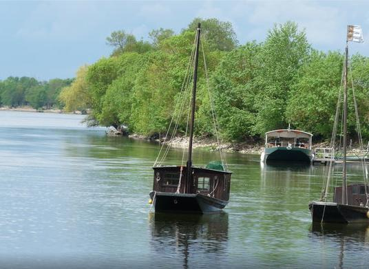 Traditional boats on the River Loire.