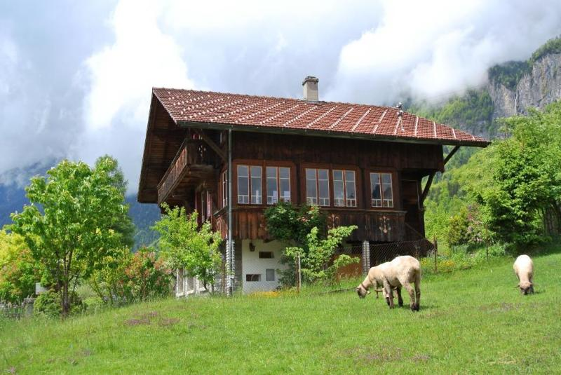 Great for holidays: chalet with lake and mountain view, garden and sauna, location de vacances à Brienz