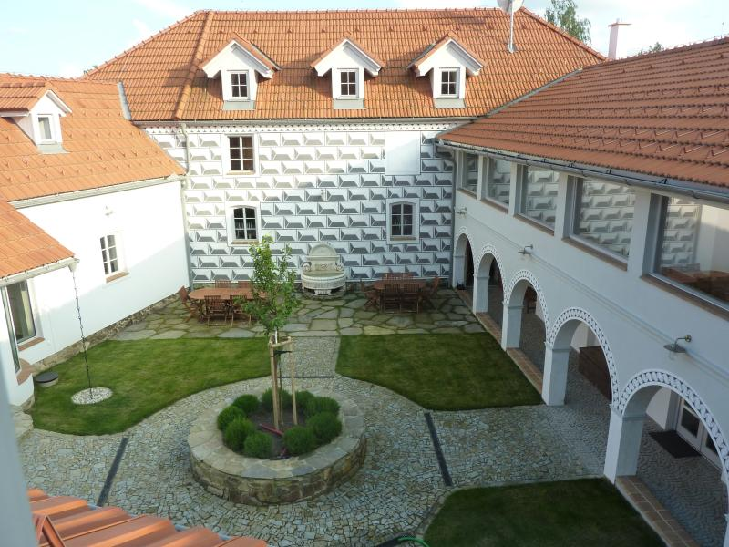 View of the Courtyard from the terraces of The Lodges. pool to the left.