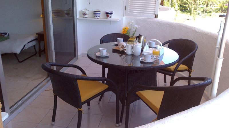 Living room balcony at breakfast time