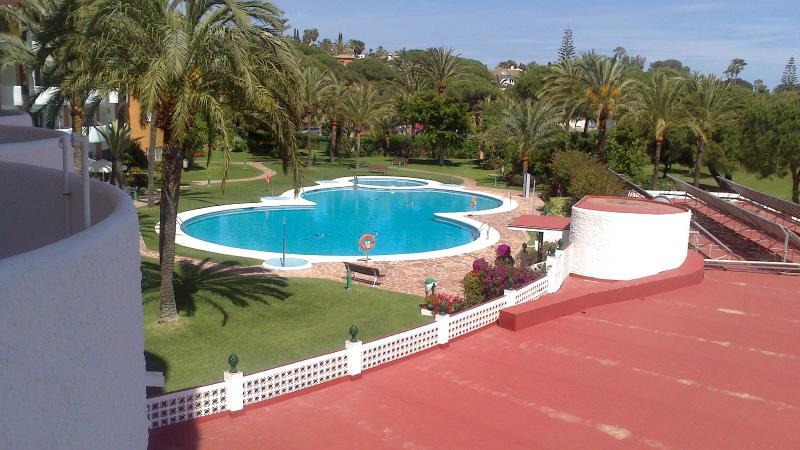 Swimming pool at Coronado, viewed from balcony of apartment