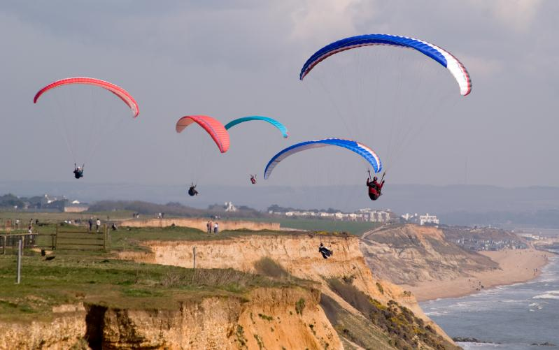 Paragliding at Barton clifftop