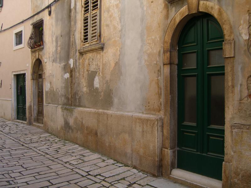 The green door shown is a non-use door for the studio.