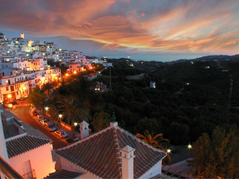 Beautiful Frigiliana town sunset from terrace