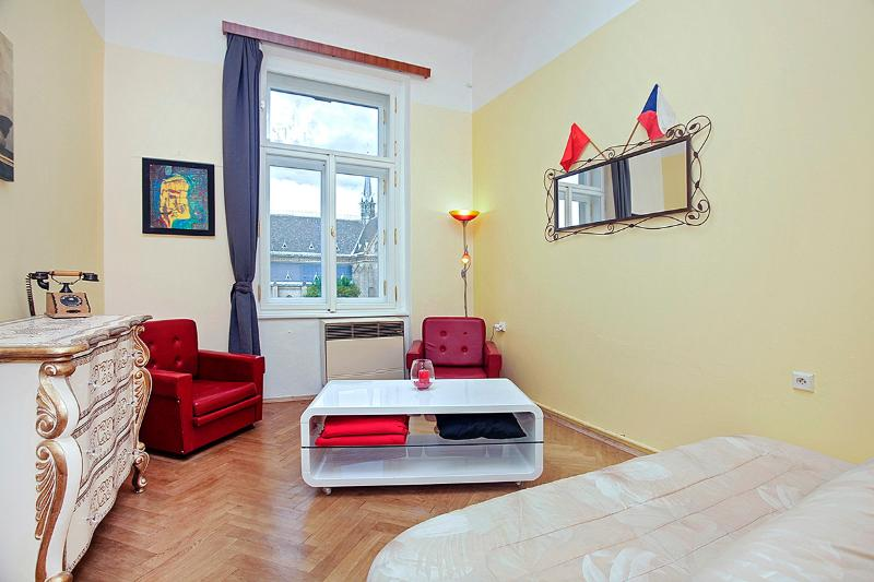 Flat, 50m2, living room with sofa bed, view on one of the most lovely and lively square in Prague